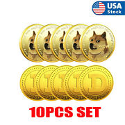 10 Pcs Gold Dogecoin Commemorative New Collectors Gold Plated Doge Coin 2021