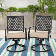 Outdoor Patio Porch Swivel Rocking Chair Beige Cushion Set Of 2