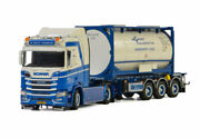 For Scania R Normal Cr20n 4x2 Trailer 20 Ft Tank Container 1/50 Diecast Model