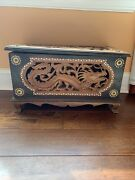 """Vintage Chinese Large Wood Carved Dragon Jewelry Storage Box Gold Sun Token 19"""""""