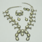 Navajo Mother Of Pearl Sterling Squash Blossom Necklace Bracelet Earrings Ring