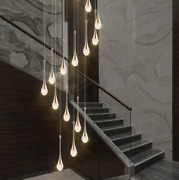 Hanging Chandeliers Lighting Led Crystal Lamp Dining Living Room Spiral Fixture