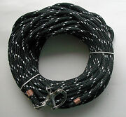 3/8 X 130 Ft. Dacron/polyester Halyard Spliced In S/s Snap Shackle Blk/wh