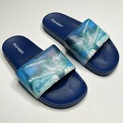 Old Navy Sport Slide Sandal Shark Print Boys Size 1-2 Blue Beach Camp