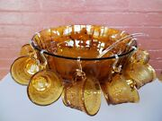Tiara Indiana Glass Amber Sandwich Punch Bowl And Ladle And Cups And Hooks 26 Pc Set