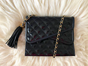 Vintage 80and039s 90and039s Patent Leather Chain Flap Tassel Black Shoulder Bag
