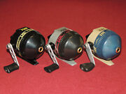 Lot Of 3 Very Nice Zebco 101 Spincast Reels All Work Great Right Hand