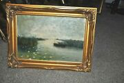 19th Century Americana Large Seascape With Boat Artist C Hoop