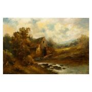 British School 19th Century Landscape Painting Of The Old Mill