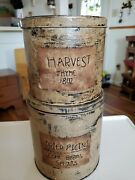 Lot Of 2 Farmhouse Theme Decorative Rustic Metal Canisters Tins