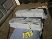 60s Vintage Edelbrock Curved Scrip Pair Finned Aluminum Valve Covers 427 Ford