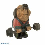 """Hand Carved Wooden Pig Weightlifting Wood Figurine Carving Home Decor 8"""" X 5"""""""