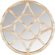 Stone And Beam 28 Vintage Compass Wooden Accent Mirror Light Stain Design Open