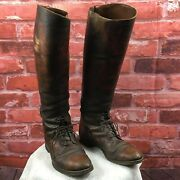 Antique 1930s Menand039s Brown Leather Us Army Cavalry Tall Boots