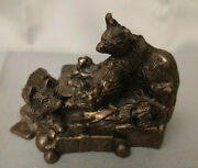 Bronzed Racoon Family Makers Mark W 3 L X 2 H Paperweight Figurine