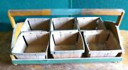 Antique Primitive Painted Pine Berry Box Carrier With 6 Boxes