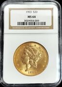 1903 Gold United States 20 Liberty Head Double Eagle Coin Ngc Mint State 64 Pq