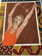 Emma Amos On Top Of The World 1996 African American Etching Ltd. Edition Of 60