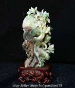11.2 Chinese Natural Dushan Jade Fengshui Orchid Parrot Bird Statue