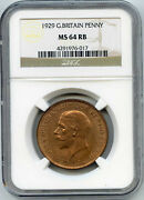 1929 Great Britain Penny. Ngc Graded Ms 64 Rb. Lot 2709
