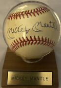 Mickey Mantle Signed Baseball + Kodak Motion Card With Printed Cover