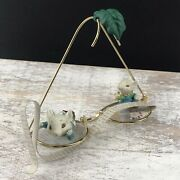 Vintage 1990 Enesco Mice Ornament All Eye Want For Christmas Spectacles 5 Wide