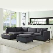 Lilola Home Madison 6 Piece Sectional Sofa With Usb Storage Console In Dark Gray