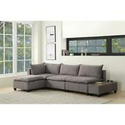 Lilola Home Madison Sectional Sofa With Usb Storage Console In Light Gray