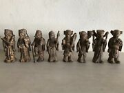 Antique Chinese Ming Dynasty Gilded Wood Carving Eight Immortals Set