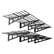 24 In. X 72 In. 2-pack Black Steel Garage Wall Shelves With Brackets