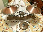 Vintage Farmhouse Wood Rustic Yoke Style Hanging Light With 2-lights
