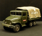 Tin Toy Haji Army Military Truck Manseigang Antique Made In Japan Rare Friction