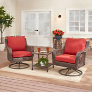 Outdoor Patio Bistro Set 3-piece Red Cushion Wicker Swivel Chair Side Table