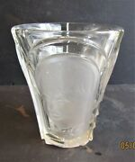 1-art Deco-clear Glass Vase By August Walther And Sohne-three Faces-7.1/4h X 6d