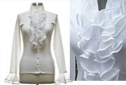 Gorgeous Anne Fontaine France White Organza Blouse Top Shirt Sz 44-46