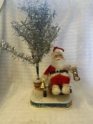 Rare Vintage Alps Tin Litho 1950andrsquos Rocking Chair Santa Claus With Tree Japan