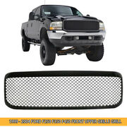 For 1999-2004 Ford F250 F350 F450 Gloss Black Mesh Front Bumper Grille Grill Abs