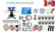 High Quality 6 Color 6 Station Screen Printing Kit Machine And Materials Kit New