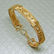 18 Kt Stamped Real Solid Yellow Gold Handmade Wire Wrap Womenand039s Bangle Bracelet