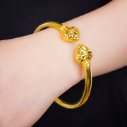 22 Kt Stamped Real Solid Yellow Gold Handmade Womenand039s Heart Bracelet Bangle 25g