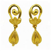 22 Kt Solid Hallmark Yellow Real Gold Screw Back Womenand039s Drop Earrings 3.200 Gms