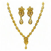 22 Kt Real Solid Hallmark Yellow Gold Vintage Necklace Earrings Womenand039s Set