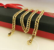 18 Kt Hallmark Solid Yellow Gold Curb Cuban Necklace Menand039s Chain 24 Grams 22 L