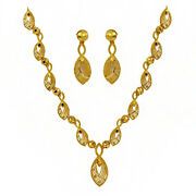 Fine Jewelry 22 Kt Real Solid Hallmark Yellow Gold Necklace Earrings Womenand039s Set