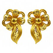 22 Kt Solid Hallmark Yellow Real Gold Screw Back Womenand039s Stud Earrings 5.300 Gms