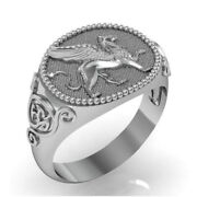 Fine Jewelry 14 Kt Real Solid White Gold Signet Ring For Men Griffin Size 1011