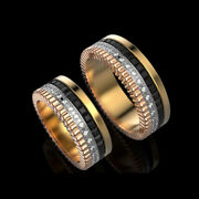 18 Kt Yellow White And Rose Gold Cz And Onyx Stones His And Her Love Couple Band Ring