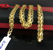 18 Kt Hallmark Real Solid Yellow Gold Dubai Necklace Menand039s Chain 25.100 Grams