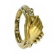 18 Kt Real Solid Yellow Gold Cz Promise To Love Hands Women's Ring Size 6,7,8,9