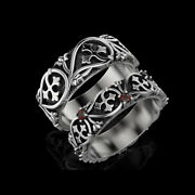 14 Kt Real Solid White Gold Ruby Stone His And Her Wedding Couple Bands 2pc Rings
